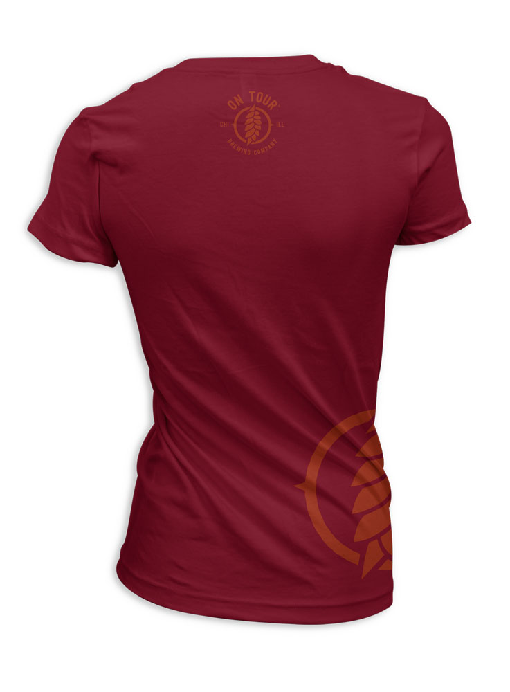 On Tour Brewing Women's Tee Shirt - Scarlet (Back View)